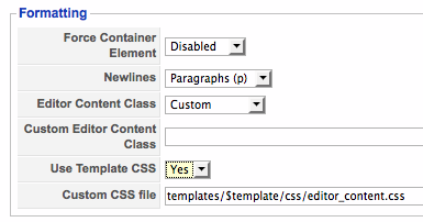 jce configuration use template.css? yes